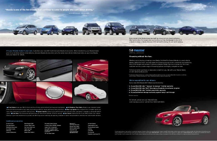 2012 mazda mx 5 miata convertible brochure provided by for Mazda motor of america inc