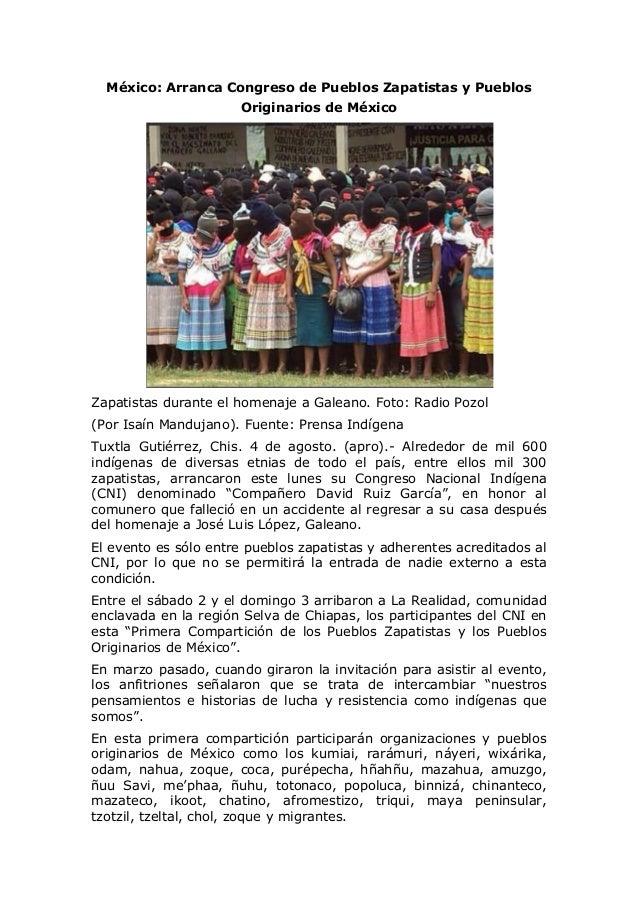 México: Arranca Congreso de Pueblos Zapatistas y Pueblos Originarios de México Zapatistas durante el homenaje a Galeano. F...