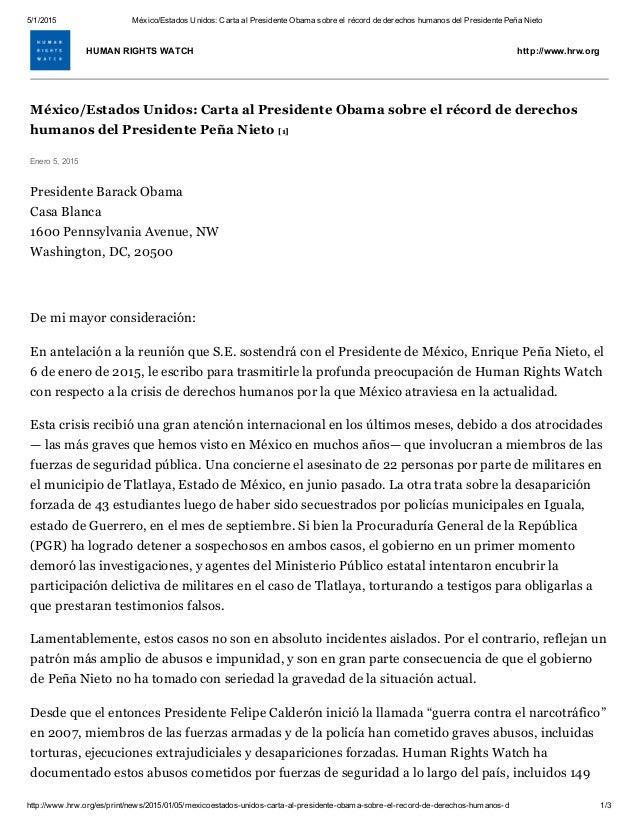 Carta Oficial De Hrw A Presidente Obama Sobre México