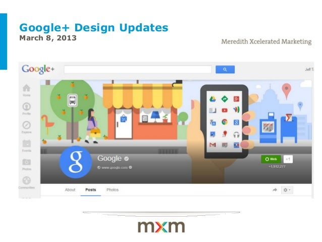 Google+ Design UpdatesMarch 8, 2013 Example of a client-themed cover slide