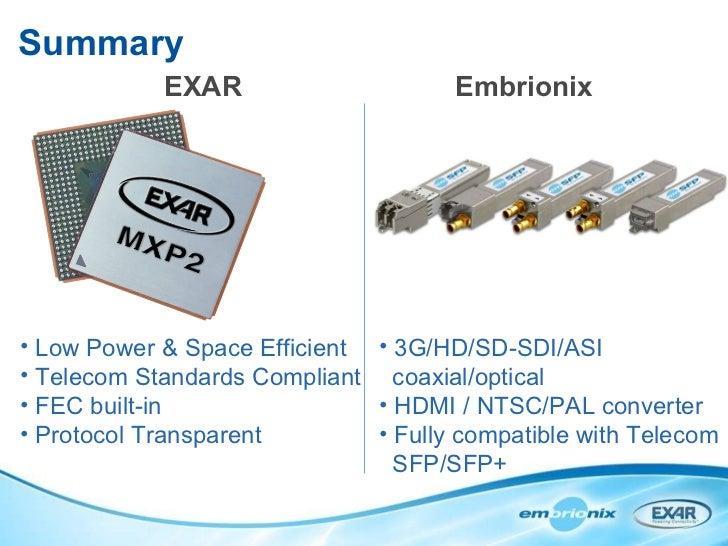 Summary EXAR Embrionix <ul><li>Low Power & Space Efficient </li></ul><ul><li>Telecom Standards Compliant </li></ul><ul><li...