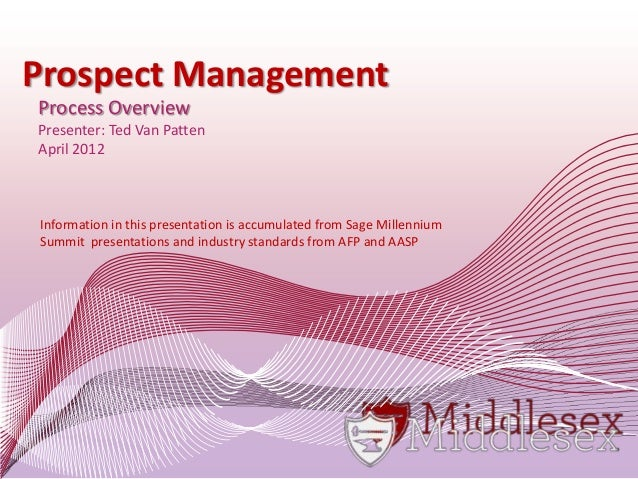 Prospect Management Process Overview Presenter: Ted Van Patten April 2012 Information in this presentation is accumulated ...