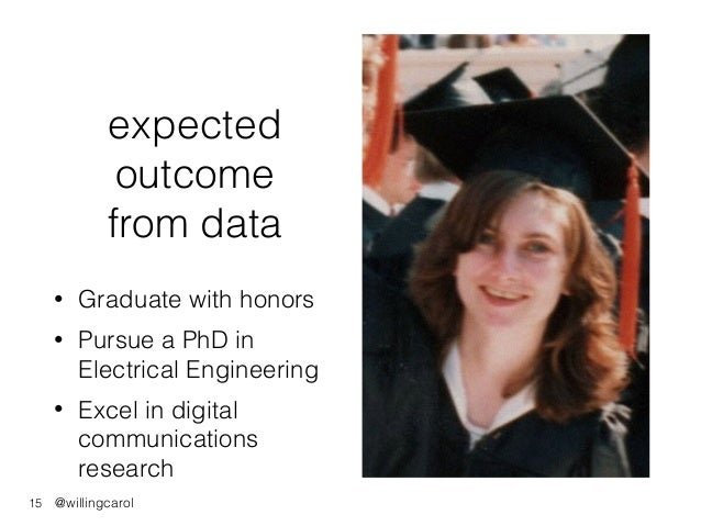@willingcarol expected outcome from data • Graduate with honors • Pursue a PhD in Electrical Engineering • Excel in digita...