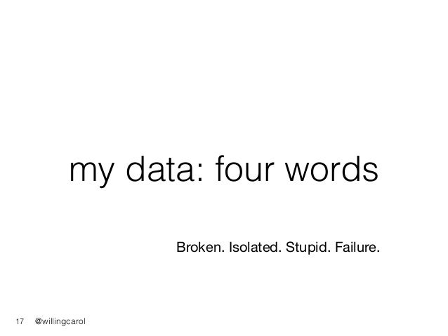 @willingcarol my data: four words 17 Broken. Isolated. Stupid. Failure.