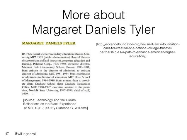 @willingcarol More about Margaret Daniels Tyler 47 [source: Technology and the Dream: Reflections on the Black Experience a...