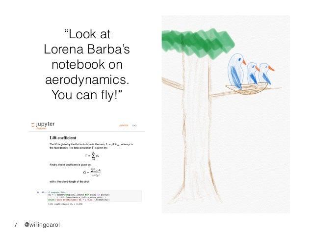"@willingcarol ""Look at Lorena Barba's notebook on aerodynamics. You can fly!"" 7"