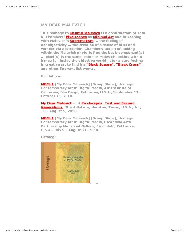 11/20/10 5:36 PMMY DEAR MALEVICH exhibitions Page 1 of 5http://www.tomrchambers.com/malevich_dir.html MY DEAR MALEVICH Thi...