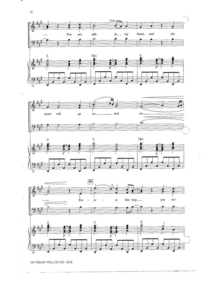 All Music Chords my heart will go on sheet music : My Heart Will Go On