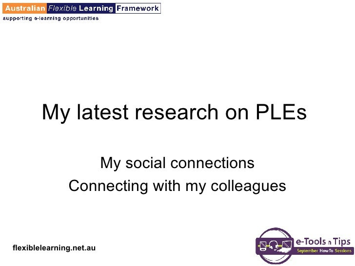 My latest research on PLEs  My social connections Connecting with my colleagues