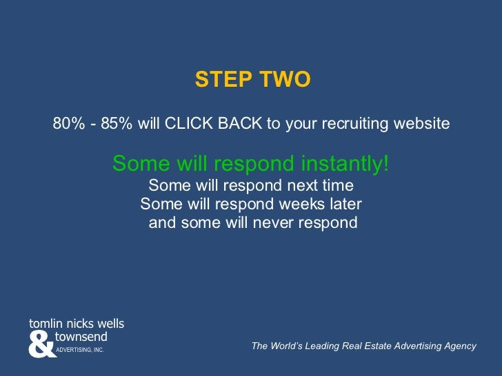 STEP TWO 80% - 85% will CLICK BACK to your recruiting website  Some will respond instantly!   Some will respond next time ...