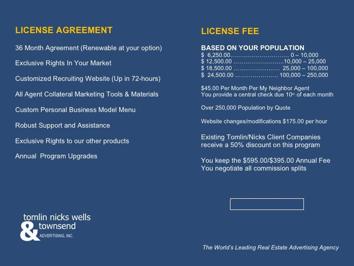 LICENSE AGREEMENT 36 Month Agreement (Renewable at your option) Exclusive Rights In Your Market Customized Recruiting Webs...