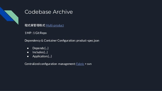 Codebase Archive 程式庫管理格式 Multi-product 1 MP : 1 Git Repo Dependency & Container Configuration: product-spec.json ● Depends:...