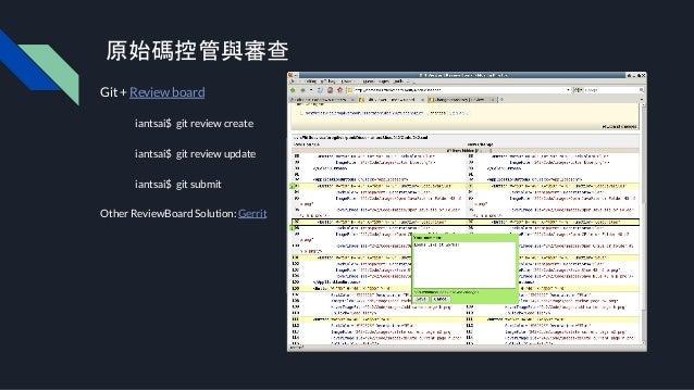 原始碼控管與審查 Git + Review board iantsai$ git review create iantsai$ git review update iantsai$ git submit Other ReviewBoard So...