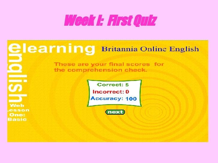 Week I:  First Quiz
