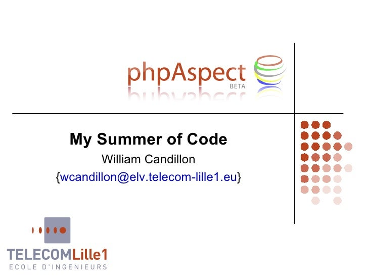 My Summer of Code William Candillon { [email_address] }