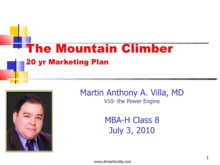 The Mountain Climber 20 yr Marketing Plan Martin Anthony A. Villa, MD V10- the Power Engine MBA-H Class 8 July 3, 2010