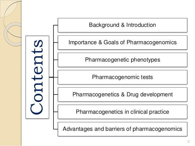Contents Background & Introduction Importance & Goals of Pharmacogenomics Pharmacogenetic phenotypes Pharmacogenomic tests...