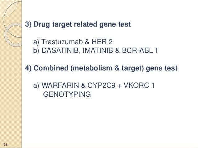 3) Drug target related gene test a) Trastuzumab & HER 2 b) DASATINIB, IMATINIB & BCR-ABL 1 4) Combined (metabolism & targe...