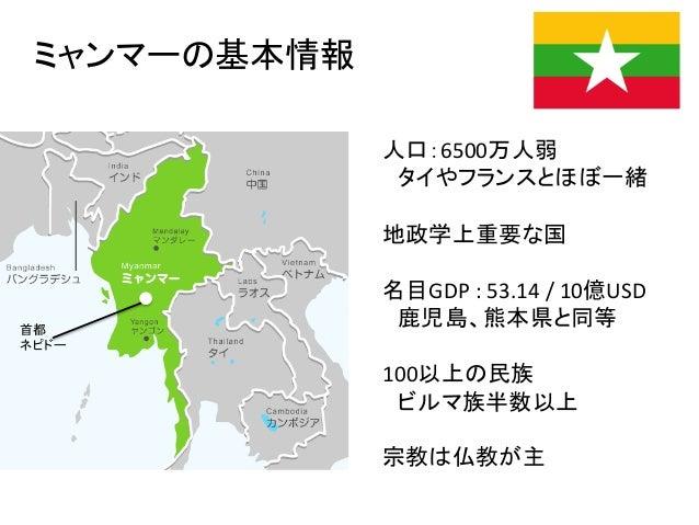 ミャンマーの基本情報人口:6500万人弱  タイやフランスとほぼ一緒  地政学上重要な国  名目GDP : 53.14 / 10億USD  鹿児島、熊本県と同等  100以上の民族  ビルマ...