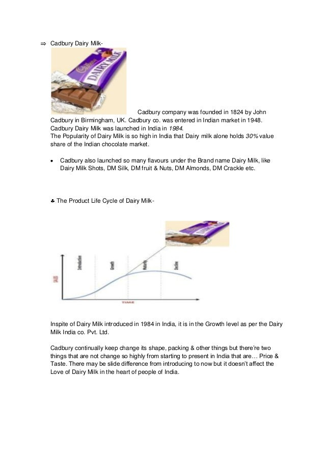maturity stage cadbury dairy milk ppt Plc: cadbury in: business and management submitted by hunny words 354 pages 2 the product life cycle concept: cadbury  the natural confectionery company is an example of brand at growth.