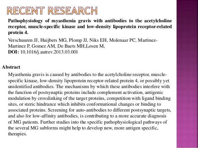 an analysis of the myasthenia gravis mg Clinical predictors for myasthenia gravis relapse and ocular myasthenia gravis secondary generalization during the first two years after disease onset remain incompletely identified this study attempts to investigate the clinical predictors for the prognosis of myasthenia gravis eighty three patients with myasthenia gravis were concluded in this study.