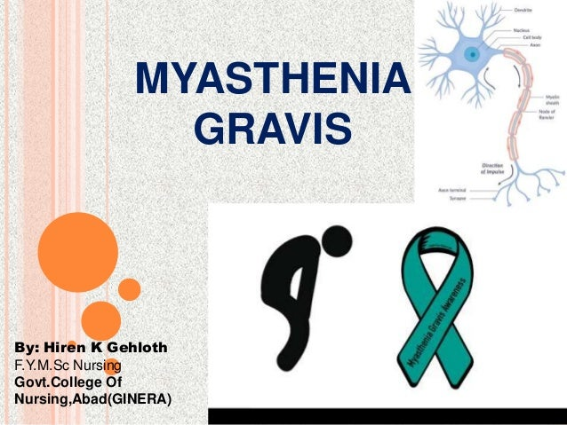 MYASTHENIA GRAVIS By: Hiren K Gehloth F.Y.M.Sc Nursing Govt.College Of Nursing,Abad(GINERA)