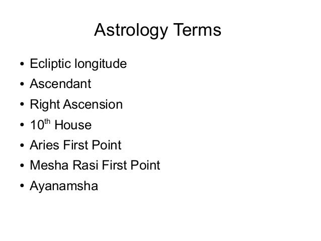 Astrology Terms ● Ecliptic longitude ● Ascendant ● Right Ascension ● 10th House ● Aries First Point ● Mesha Rasi First Poi...