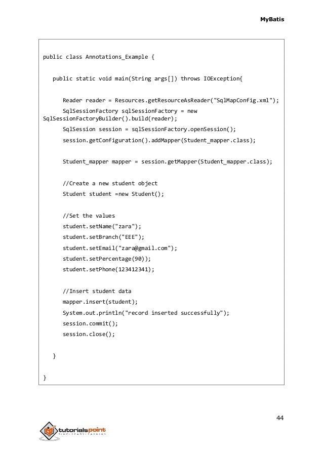 Ibatis annotations list