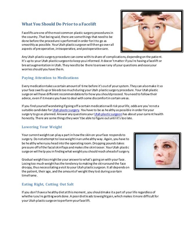 What You Should Do Prior to a Facelift Facelifts are one of the most common plastic surgery procedures in the country. Tha...