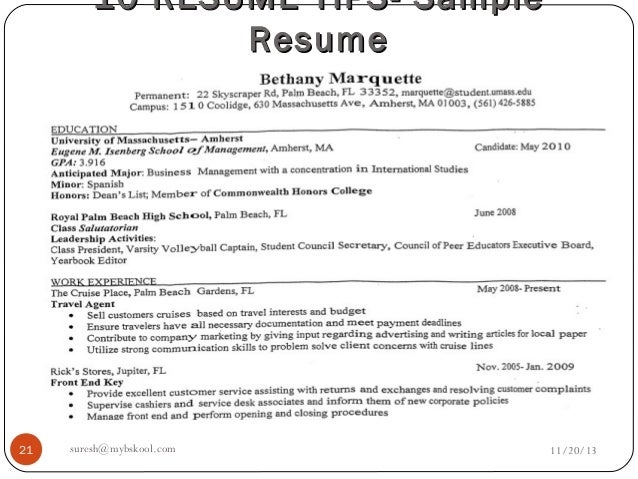 free sample resume cover
