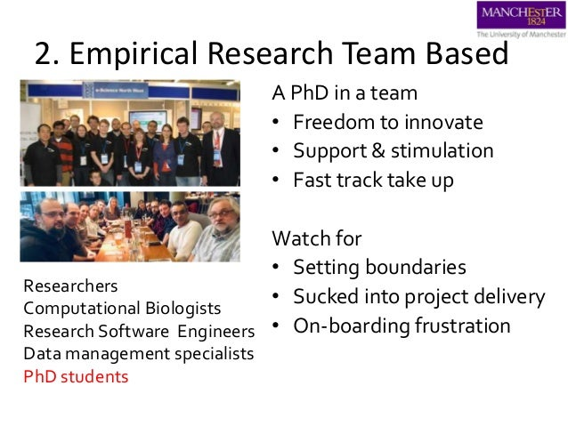 2. Empirical Research Team Based A PhD in a team • Freedom to innovate • Support & stimulation • Fast track take up Watch ...