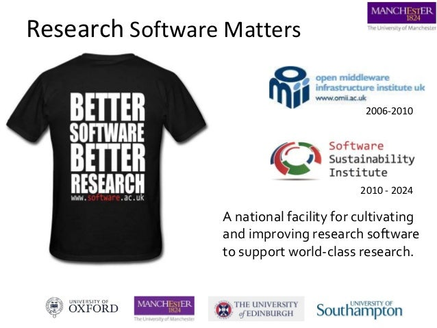 Research Software Matters 2010 - 2024 A national facility for cultivating and improving research software to support world...