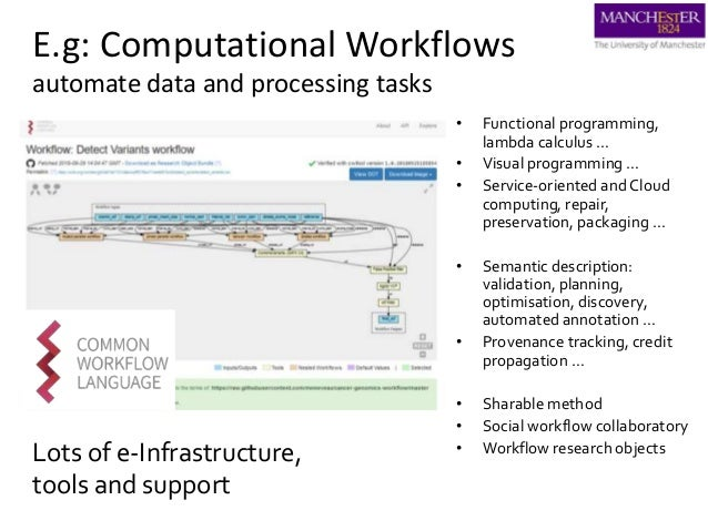 E.g: Computational Workflows automate data and processing tasks • Functional programming, lambda calculus … • Visual progr...