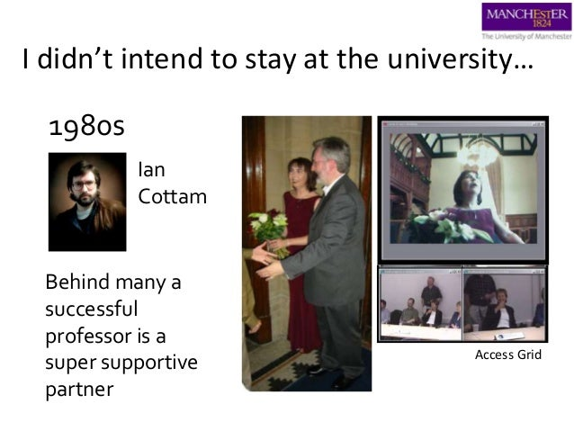 I didn't intend to stay at the university… 1980s Ian Cottam Behind many a successful professor is a super supportive partn...