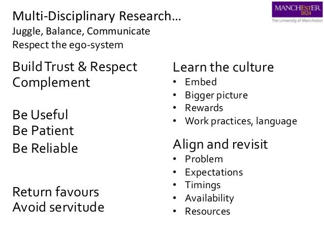 Multi-Disciplinary Research… Juggle, Balance, Communicate Respect the ego-system Be Patient BuildTrust & Respect Be Useful...
