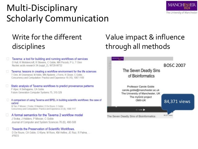 Write for the different disciplines Value impact & influence through all methods BOSC 2007 Multi-Disciplinary Scholarly Co...