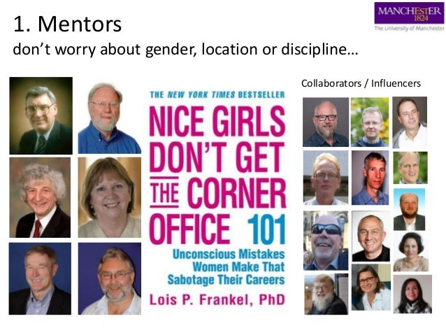 1. Mentors don't worry about gender, location or discipline… Collaborators / Influencers