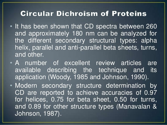 circular dichroism and secondary structure of proteins essay Secondary-structure analysis of denatured proteins by vacuum-ultraviolet circular dichroism spectroscopy koichi matsuo, yoshie sakurada,y ryuta yonehara,y mikio kataoka,z and kunihiko.