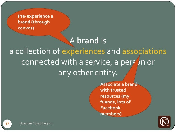Pre-experience a        brand (through        convos)                         A brand is      a collection of experiences ...