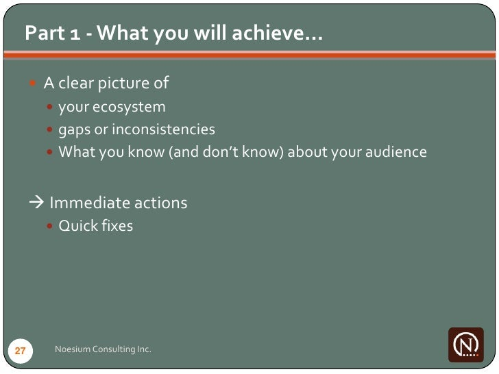 Part 1 - What you will achieve…        A clear picture of         your ecosystem         gaps or inconsistencies       ...