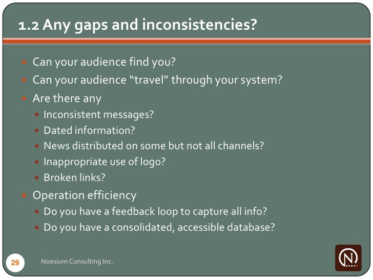 """1.2 Any gaps and inconsistencies?        Can your audience find you?       Can your audience """"travel"""" through your syste..."""