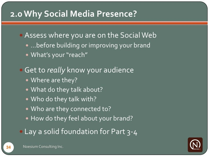 2.0 Why Social Media Presence?        Assess where you are on the Social Web         …before building or improving your ...