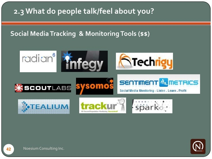 2.3 What do people talk/feel about you?   Social Media Tracking & Monitoring Tools ($$)     42     Noesium Consulting Inc.
