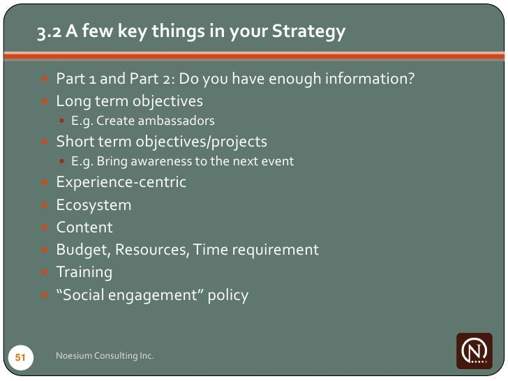 3.2 A few key things in your Strategy        Part 1 and Part 2: Do you have enough information?       Long term objectiv...