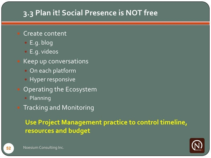 3.3 Plan it! Social Presence is NOT free        Create content         E.g. blog         E.g. videos       Keep up con...