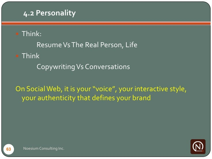 4.2 Personality        Think:            Resume Vs The Real Person, Life       Think            Copywriting Vs Conversat...