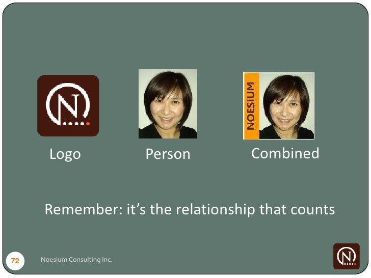 Logo                    Person   Combined         Remember: it's the relationship that counts  72   Noesium Consulting Inc.