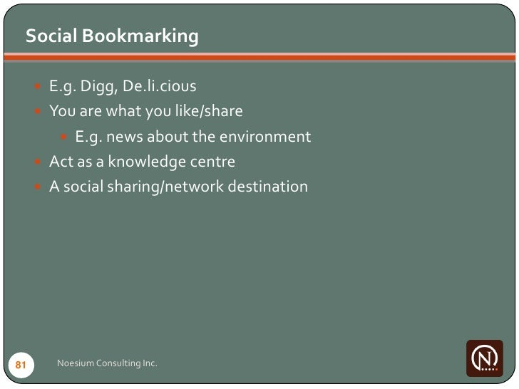 Social Bookmarking        E.g. Digg, De.li.cious       You are what you like/share          E.g. news about the environ...