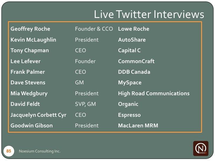 Live Twitter Interviews  Geoffrey Roche                Founder & CCO Lowe Roche  Kevin McLaughlin              President  ...