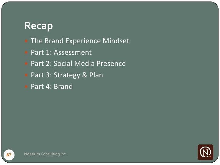 Recap       The Brand Experience Mindset       Part 1: Assessment       Part 2: Social Media Presence       Part 3: St...